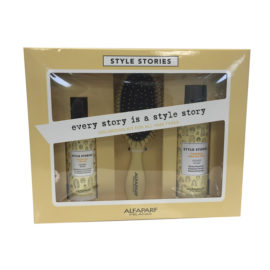 Box containing ALFAPARF Milano Style Stories products and hair brush